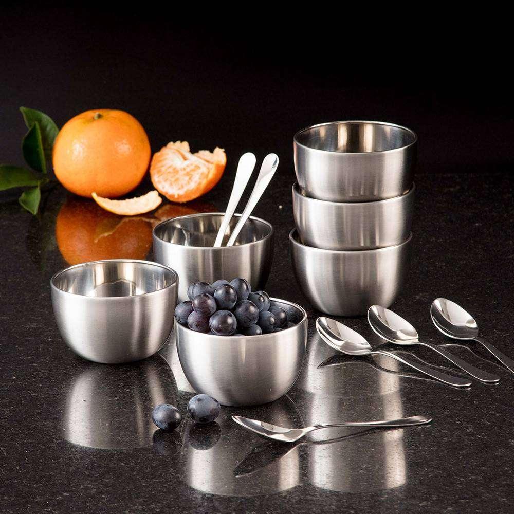 Conjunto bowls inox, jarra inox, saladeira inox, talheres inox - La Cuisine - Shoptime - As Panelas