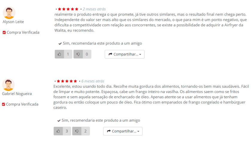 Opinião de clientes compradores da fritadeira elétrica Philips Walita Turbofryer