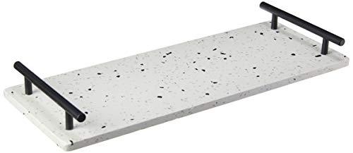 Bandeja C/alça De Mármore E Ferro Terrazzo 40x15x4, 5cm Lyor Branco E Preto No Voltagev