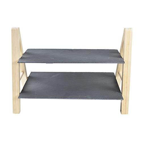 Jogo 2 tabuas em ardosia e madeira L33xP22xA27/L33xP12xA27