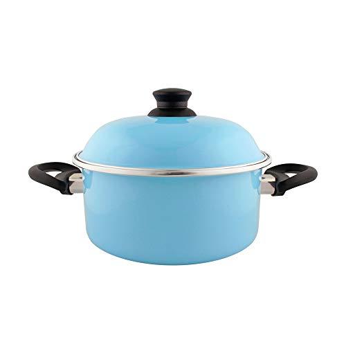 Caçarola c/Alças 26 Esmaltada Azul Claro - 5300 ml - Ewel