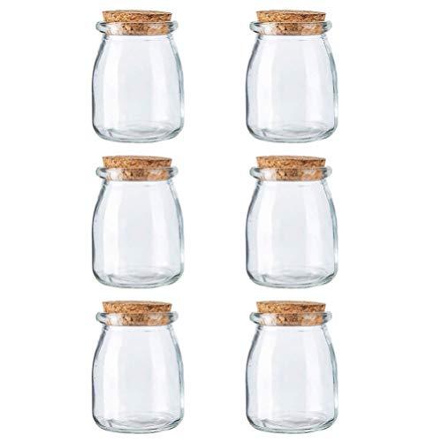 Cabilock 6 frascos de pudim pequenos de vidro com tampa de cortiça pote de iogurte recipientes de iogurte, copo de leite para geleia e pudim de mel