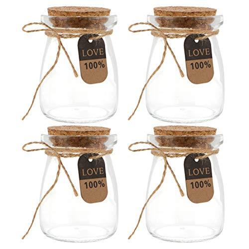 DOITOOL Potes de iogurte de vidro transparente para pudim com tampas de cortiça, pote de vidro para iogurte para mousse, mel, geleia de leite, musse de especiarias, 10 peças, 100 ml