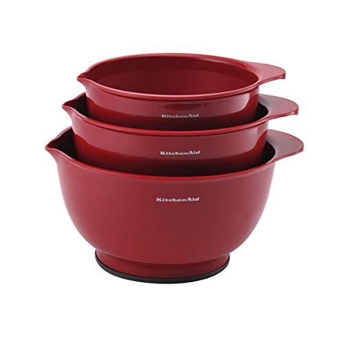 KitchenAid Tigelas clássicas para misturar, conjunto de 3, vermelho império