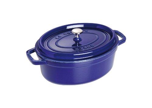 Caçarola Oval, Ferro Fundido, Azul Marinho, 27 cm, STAUB