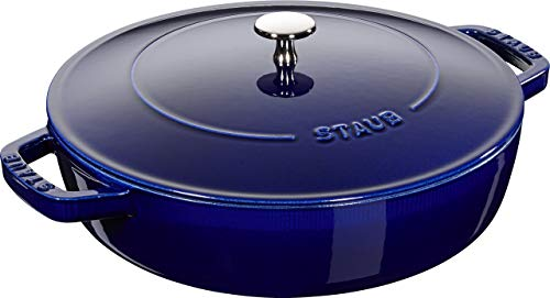 Caçarola Redonda Baixa, Chistera, Ferro Fundido, Azul Marinho, 28 cm, STAUB