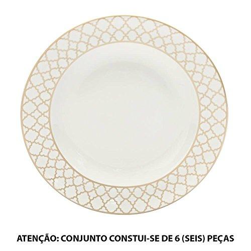 Conjunto 6 Pratos para Pão Positive Pewter em Porcelana - L Hermitage - 16,5 cm