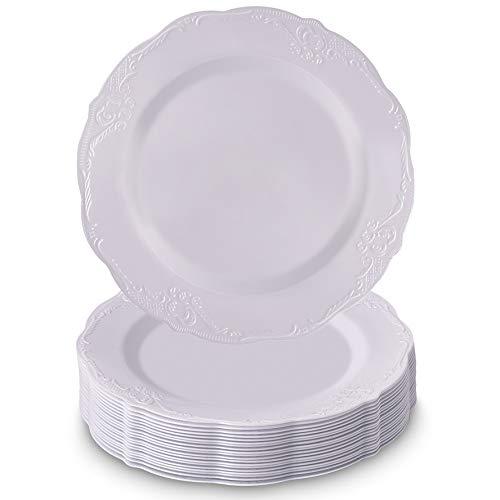 Conjunto de utensílios de jantar descartáveis | 20 pratos de sobremesa (vintage - branco | 19 cm)