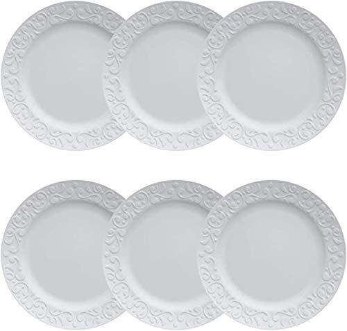 Jogo 6 Pratos Sobremesa Tassel relevo Porcelana Branca Germer