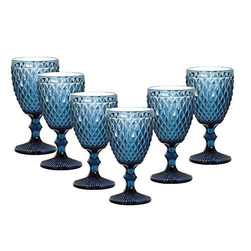 Jogo de Taças Abacaxi Azul Água suco vinho 300 ml 6 Peças