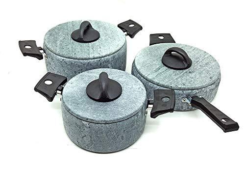 Jogo 2 panelas de pedra sabão + 1 frigideira - alças antitérmicas e tampas de pedra