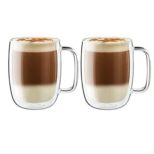 Jogo com 2 Copos para Latte com Alça, Vidro de Parede Dupla, Transparente, 450 ml, ZWILLING Sorrento